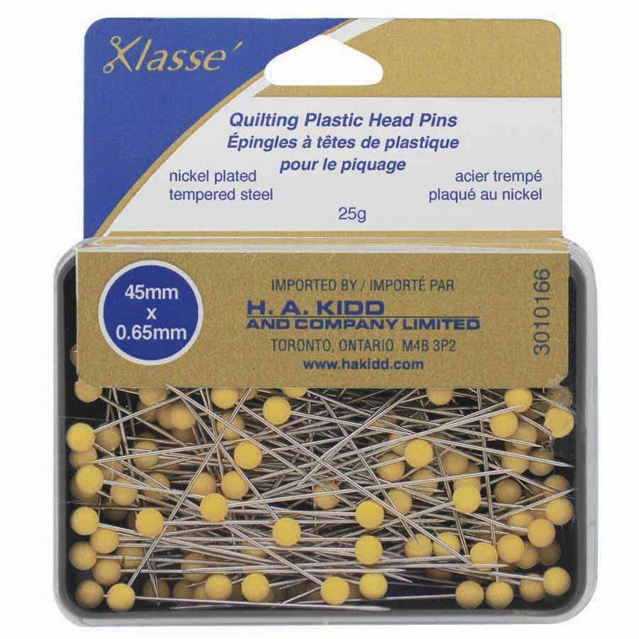 "Klasse´ quilting plastic head pins yellow 165pcs - 50mm (2"") 1ct"