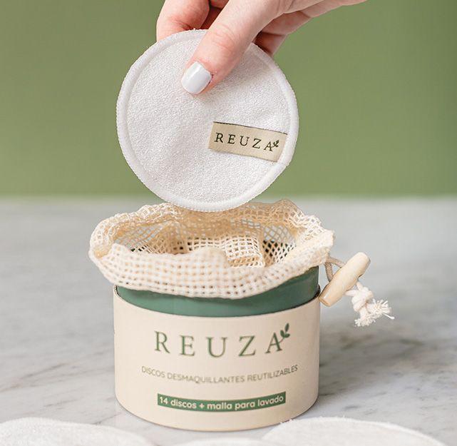 Discos desmaquillantes reutilizables de algodón orgánico con bambú natural 14 petalos