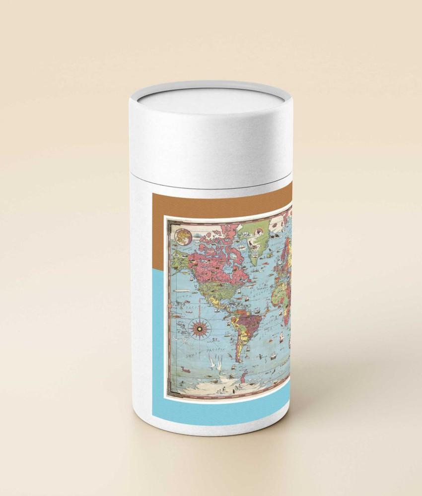 Puzzle mapa del mundo 1931 (en tubo) - 1.000 piezas