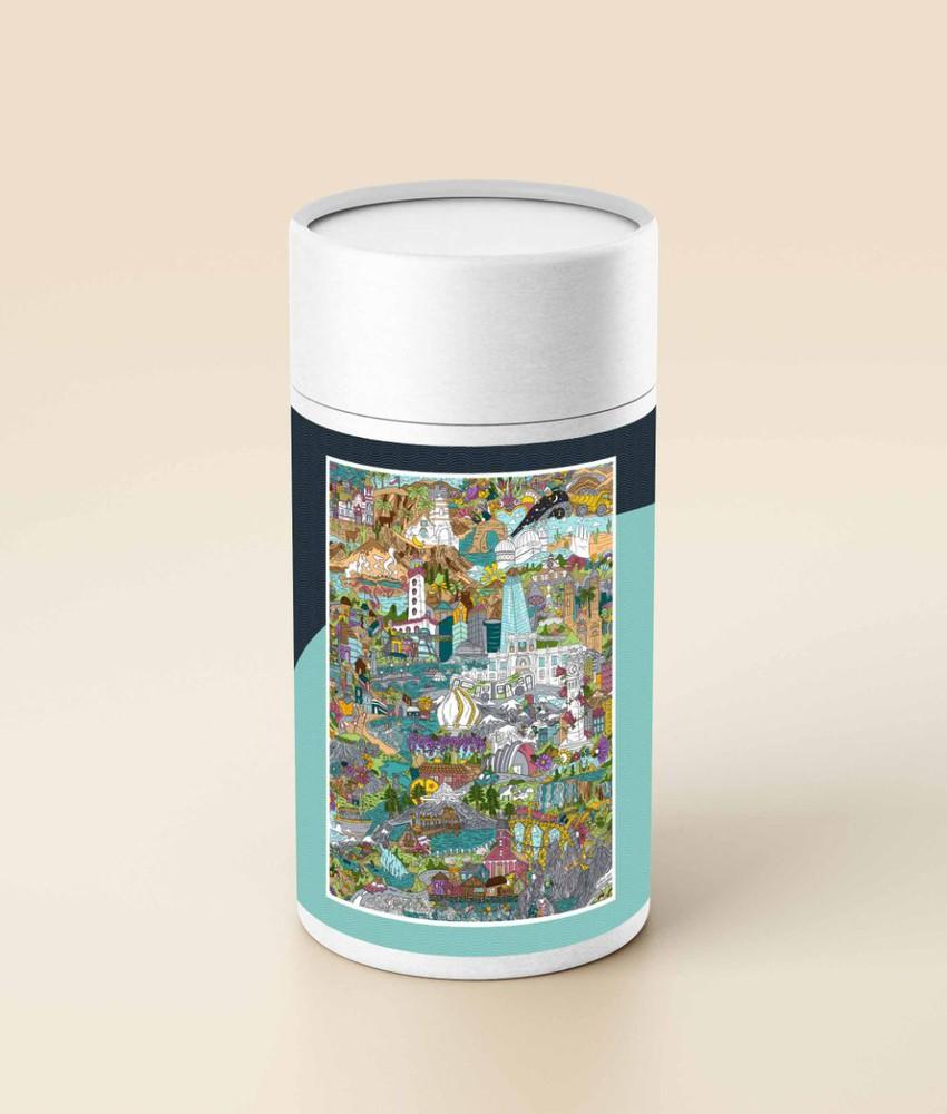 Puzzle chile ilustrado (en tubo) - 1.000 piezas