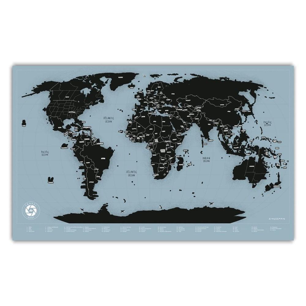Mapa del mundo raspable travelshot (negro) - lámina