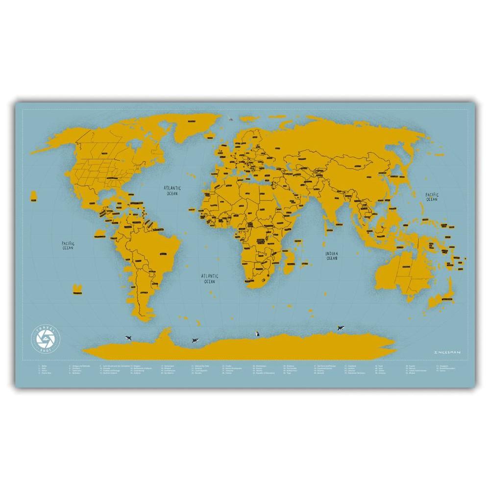 Mapa del mundo raspable travelshot (dorado) - lámina