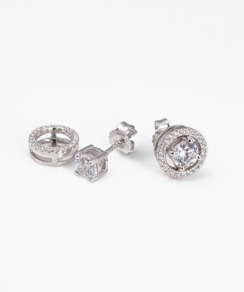 Aros 2 en 1 plata 925 con cristal swarovski Unitario