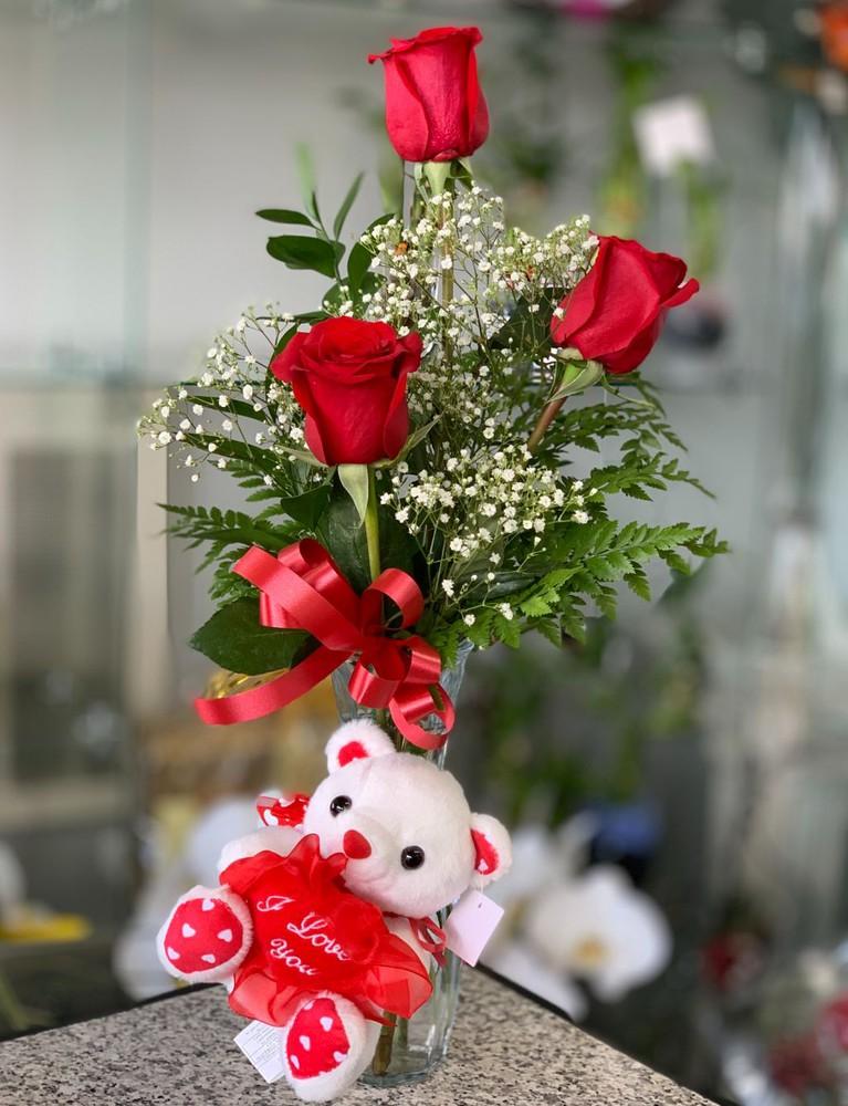 Sending my Love Arrangement + Teddy Vase