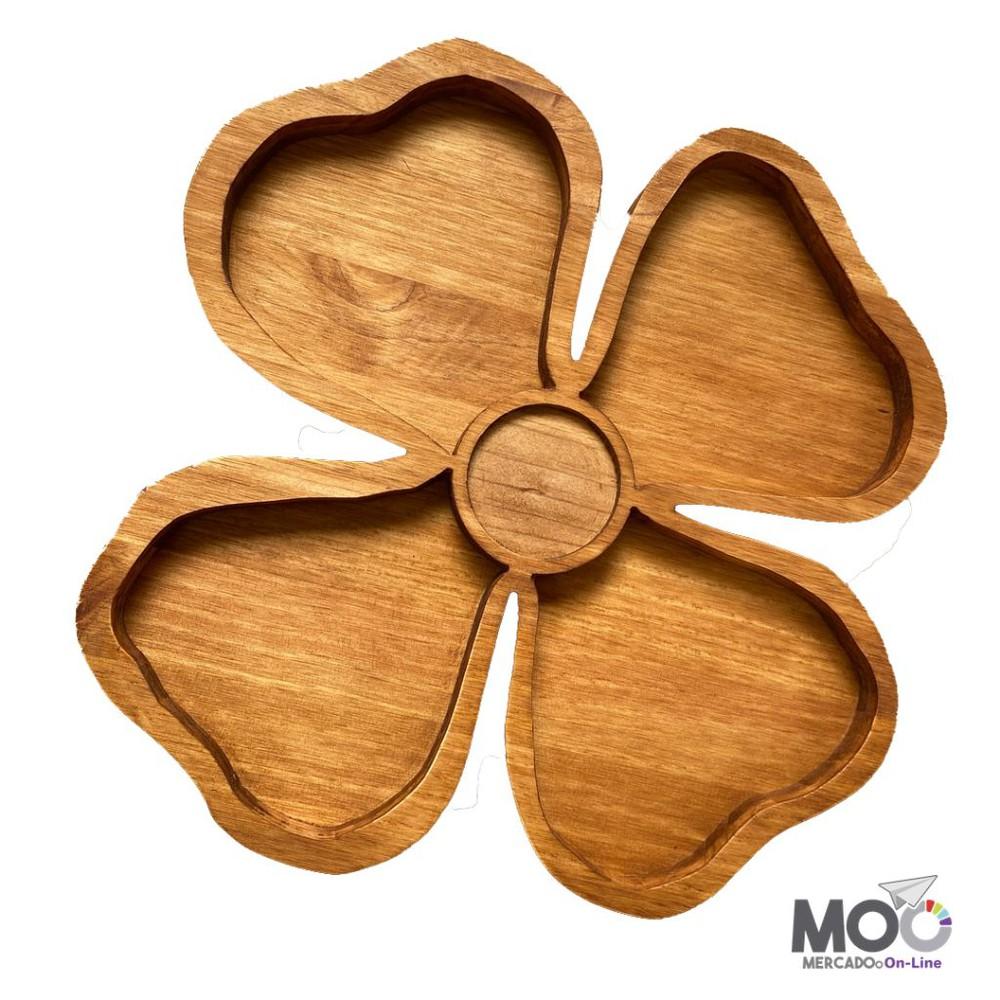 Tabla o Plato de Aperitivos en Madera - Flor 1 Unidad
