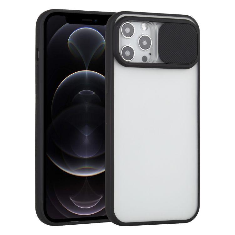 Funda TPU Negro Protector de cámara Deslizable ZE9780 IPHONE 12 PRO