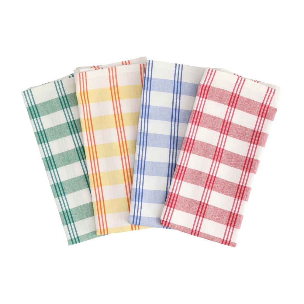 Set 4 paños de cocina algodón