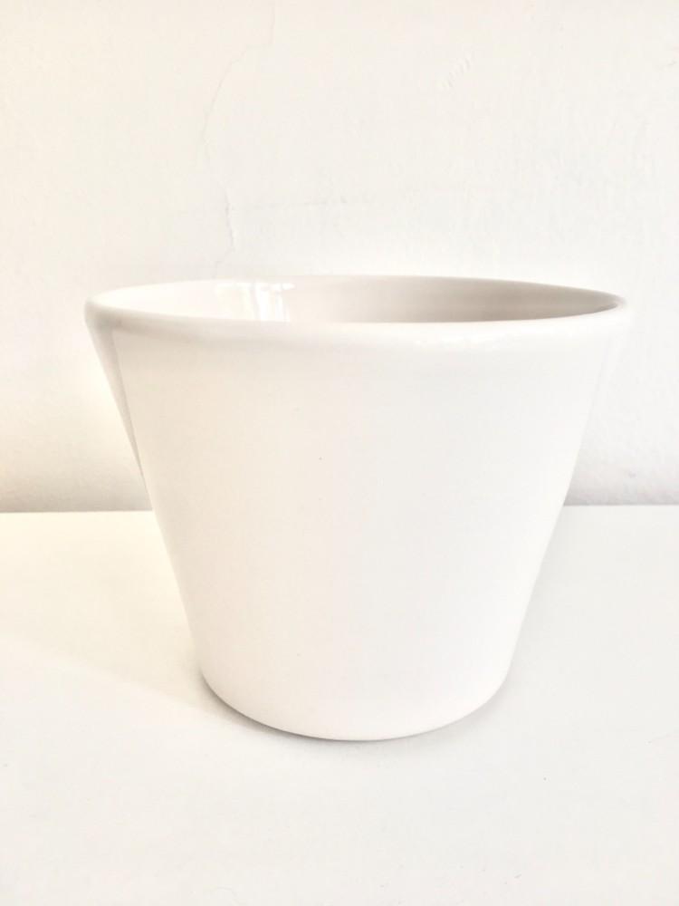 Macetero blanco cerámica m Diámetro 15cm y alto 13cm