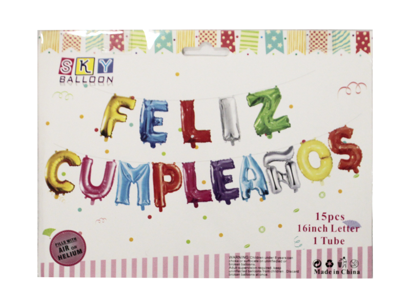 Globo foil feliz cumpleaños colores 49 cm Bolsa