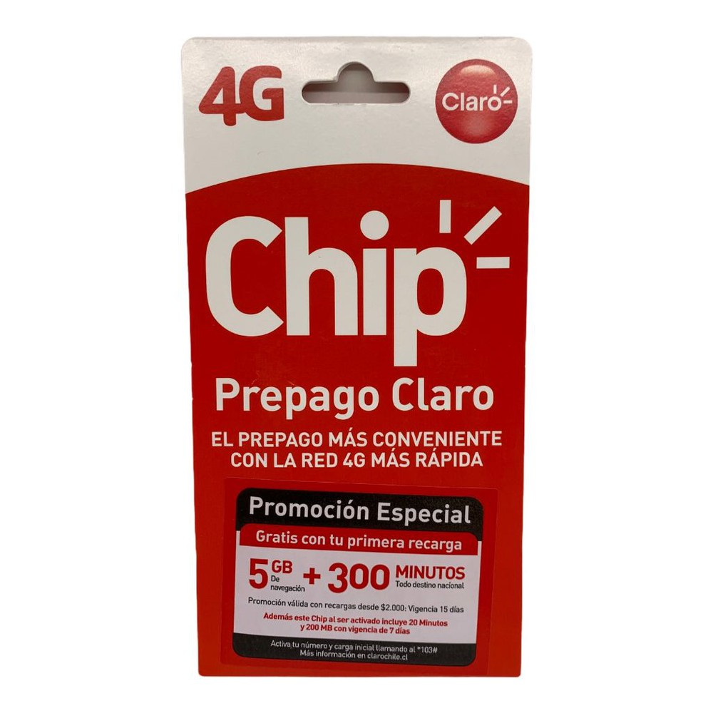 Chip prepago 5GB+300min