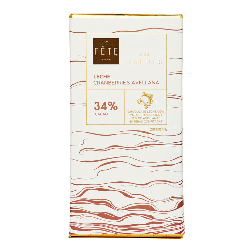 Barra Leche Cranberries Avellana 170g