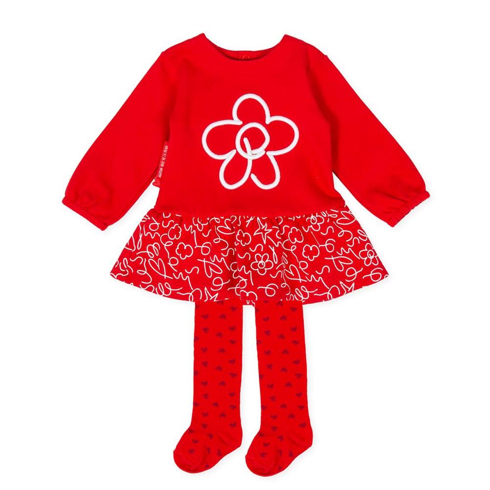Vestido Con Panty P.Flor Niña Rojo 9M