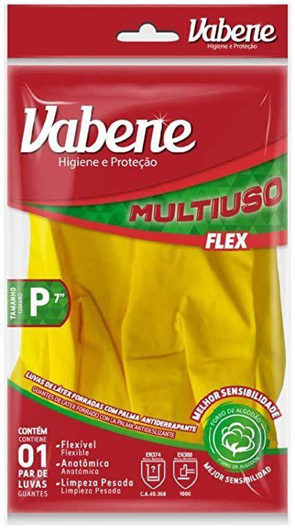 Luva látex multiuso flex vabene amarela p