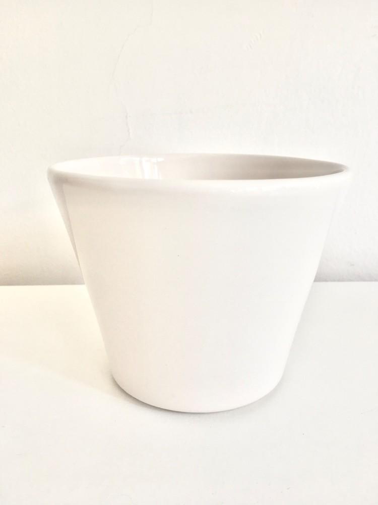 Macetero blanco cerámica s Diámetro 13cm y alto 10cm