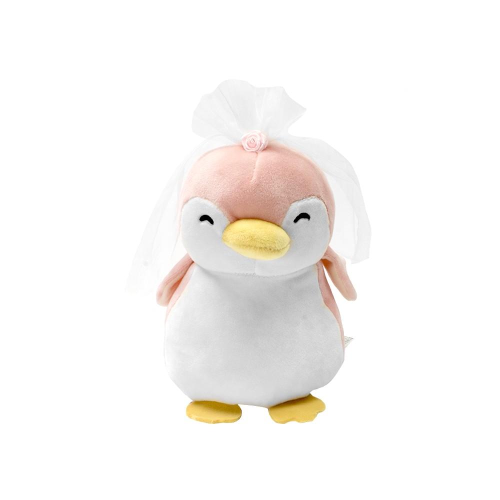 Peluche mini pingüino novia rosa