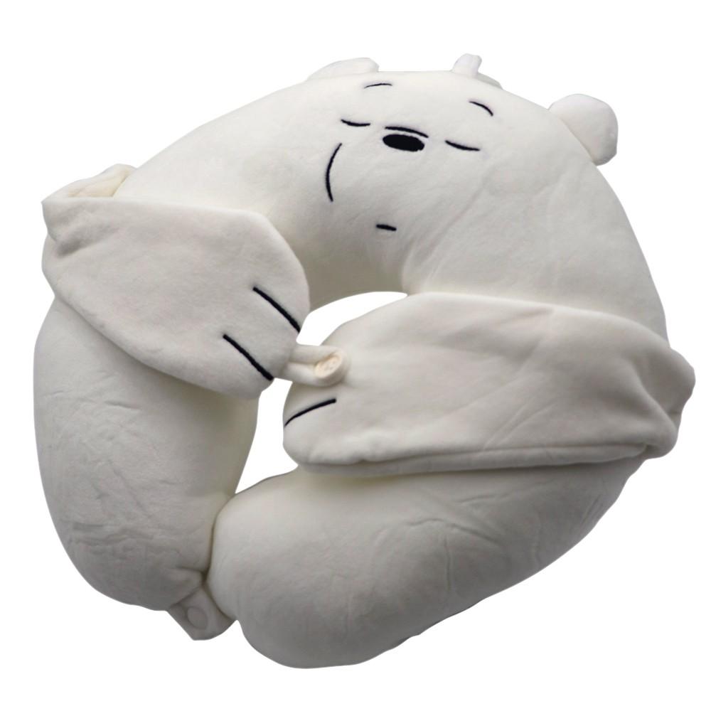 Almohada cuello + antifaz We Bare Bears polar blanco