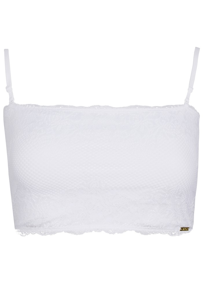 Top encaje strapless blanco m