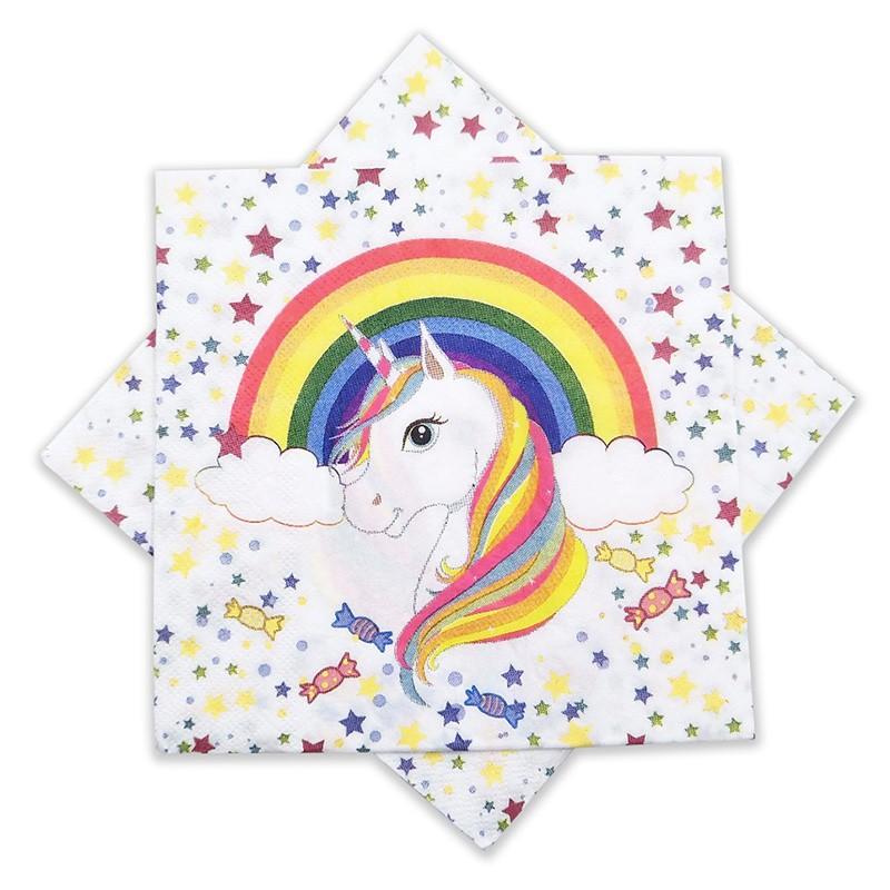 Servilleta unicornio y arcoiris