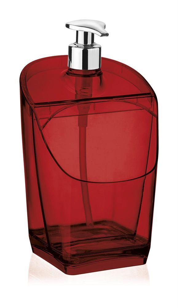 Porta detergente e bucha vermelho translúcido