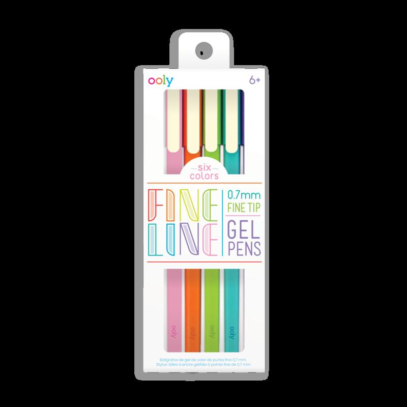 Set de 6 lápices de gel - punta fina 0,7 mm