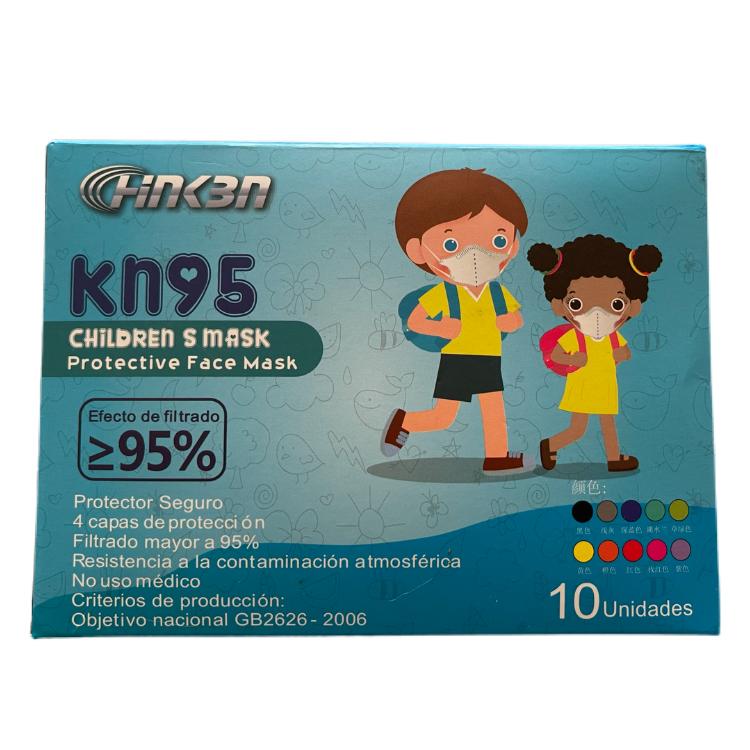 Mascarilla kn95 mix colores niño (certificadas) Pack de 10 unidades