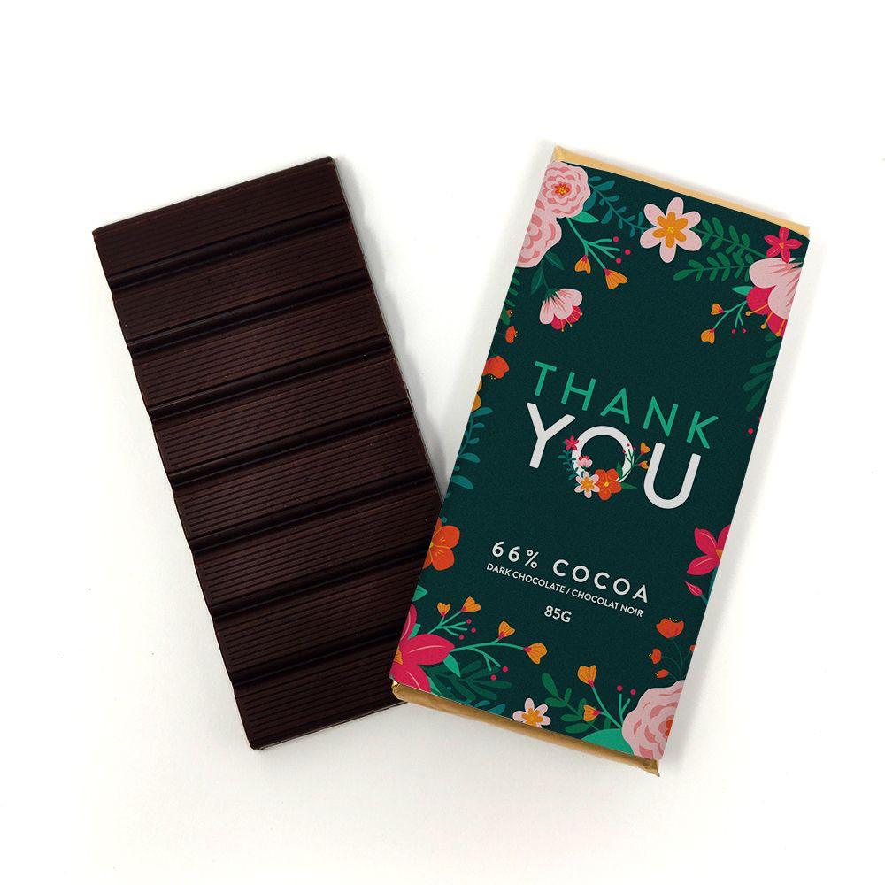 Thank you flower dark chocolate bar 85g