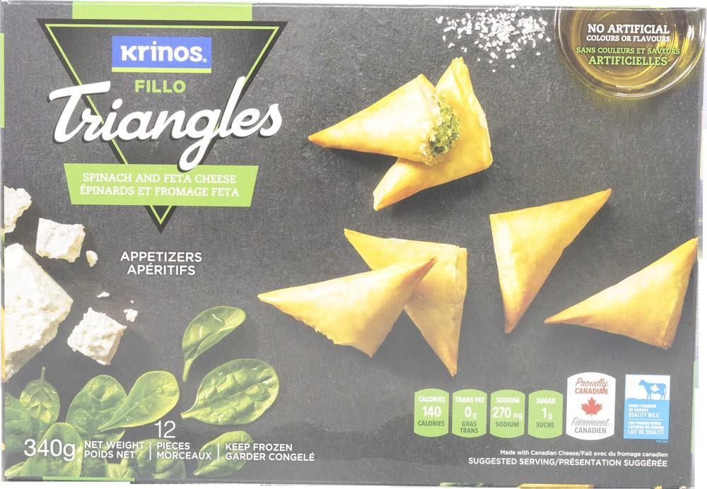 Spinach & feta cheese triangles