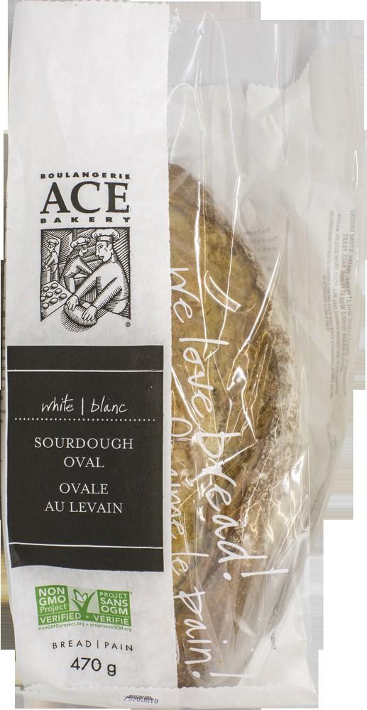 White sourdough oval bread