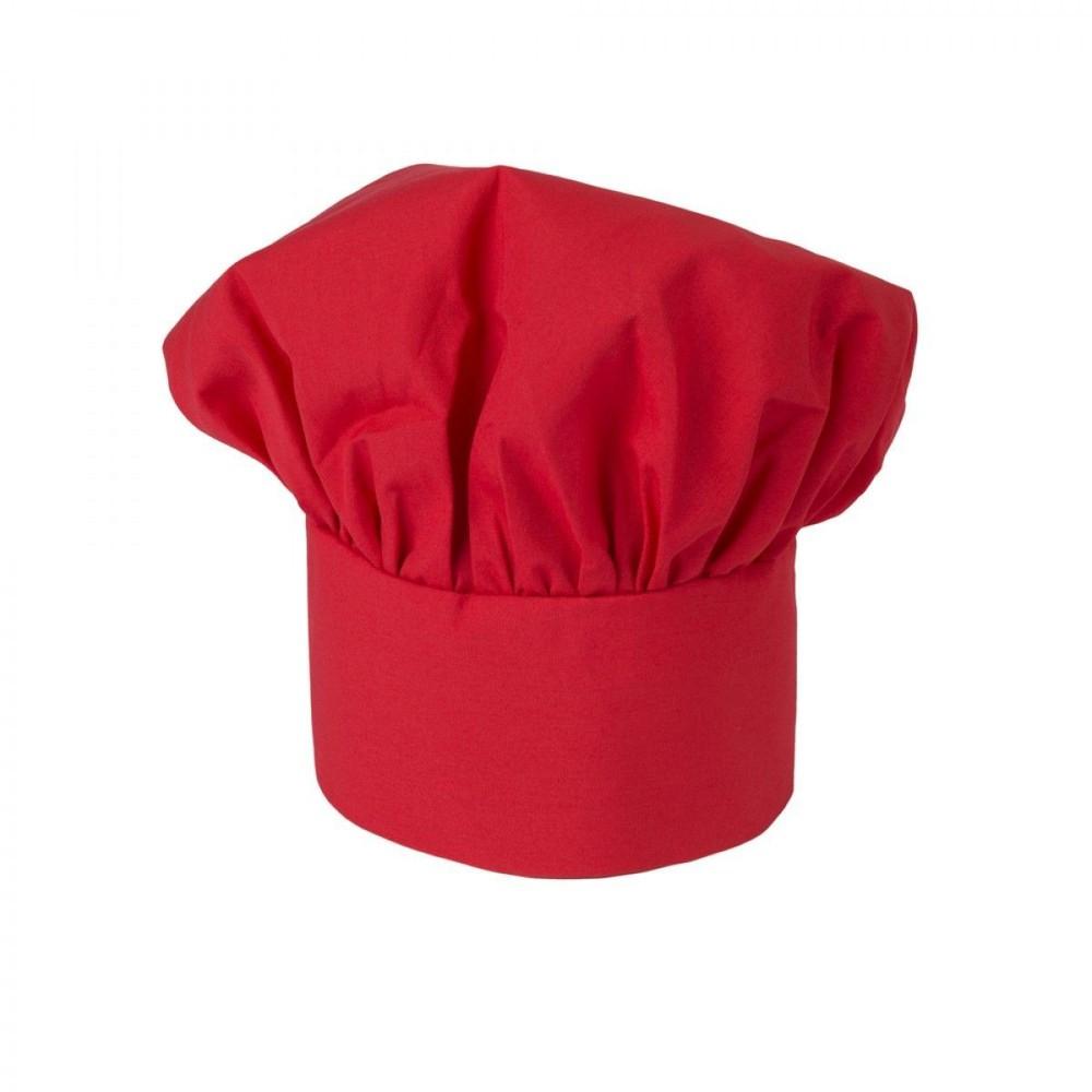 Gorro chef frances  rojo c/u gab. 12x12x16 cm