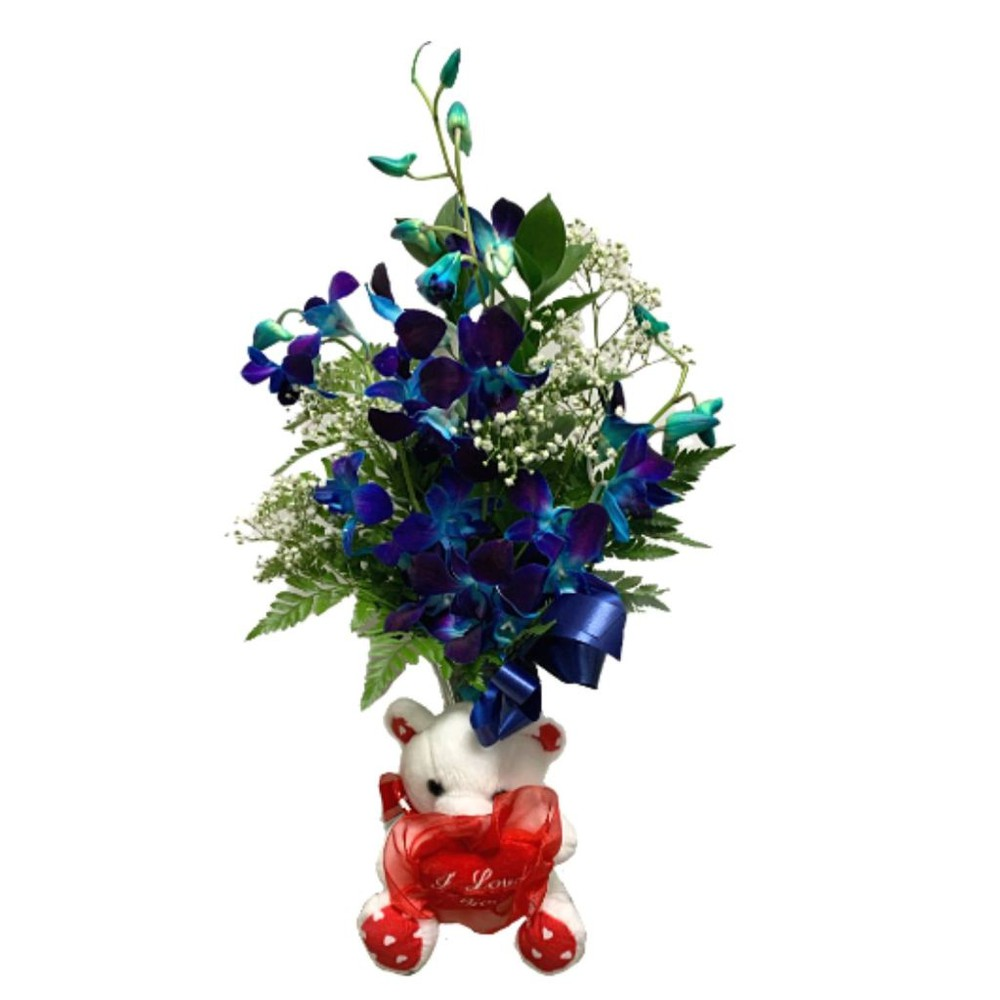 Blue Orchids with Teddy In a vase