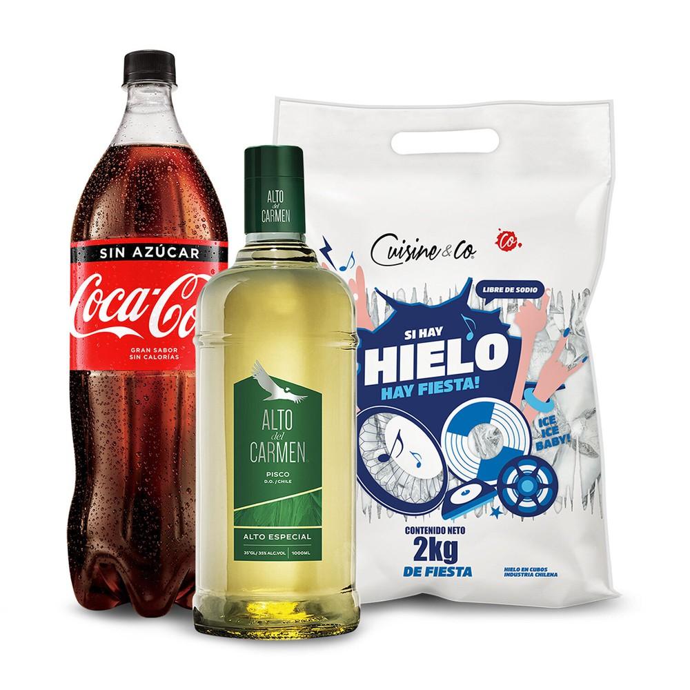 Pack pisco + Bebida Zero + Hielo