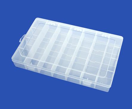 Caja De Plástico Grande Con 28 Divisiones  - Transparente