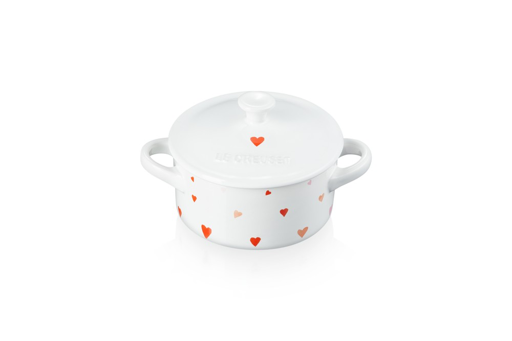 Mini cocotte corazones 10cm blanco 14cmx10,6cmx8,2cm