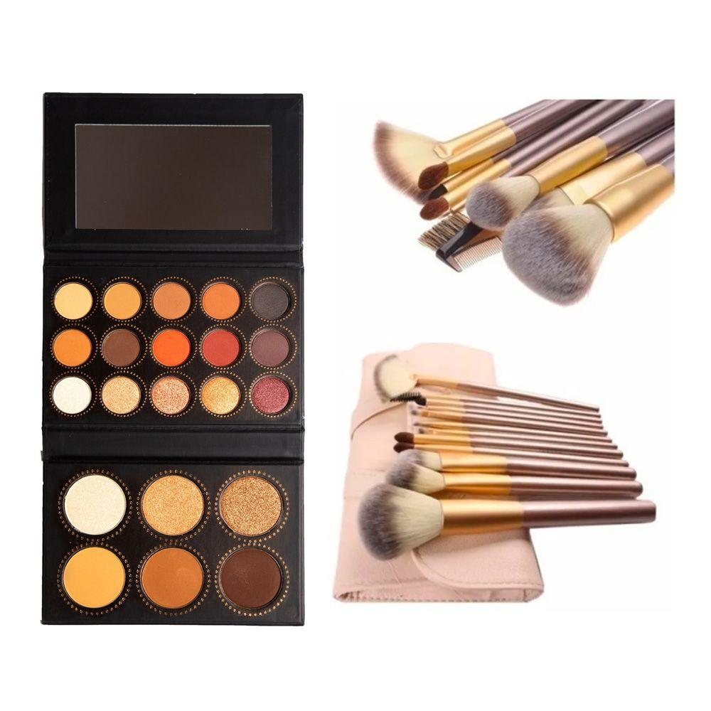 Paleta de sombras y rubores + set de 12 brochas maquillaje cvl