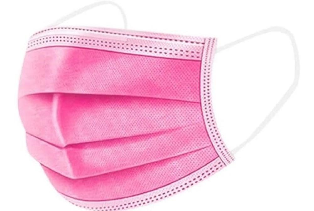 Mascarilla quirúrgica 3 pliegues - rosada Caja 50 uds