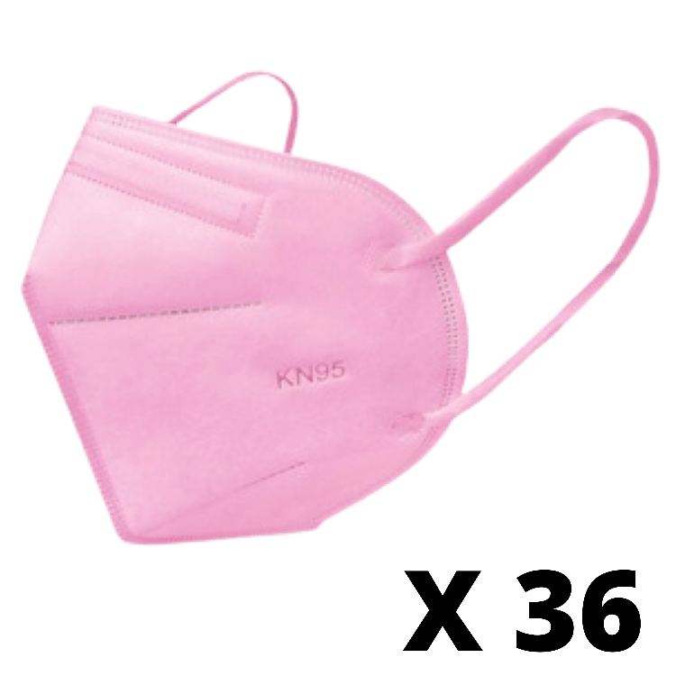 Mascarilla kn95 adulto rosadas (certificada) Pack de 36 unidades
