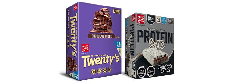 6 protein bite black & white + 12 twenty's chocolate fudge