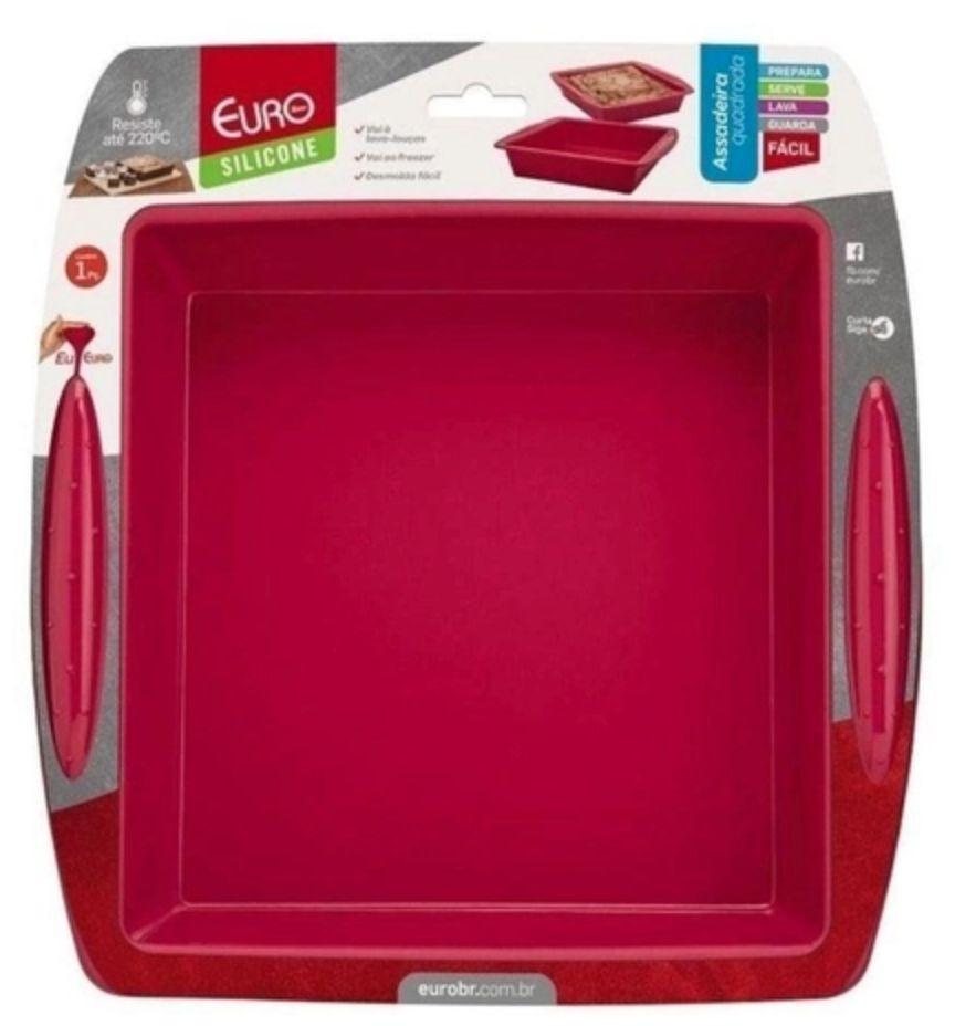 Assadeira silicone quadrada vermelha