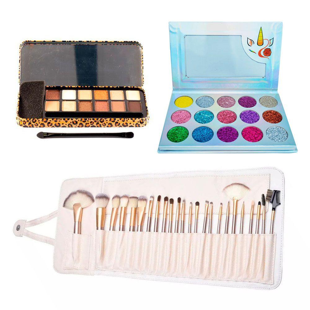 Kit maquillaje sombras de ojos + 24 brochas