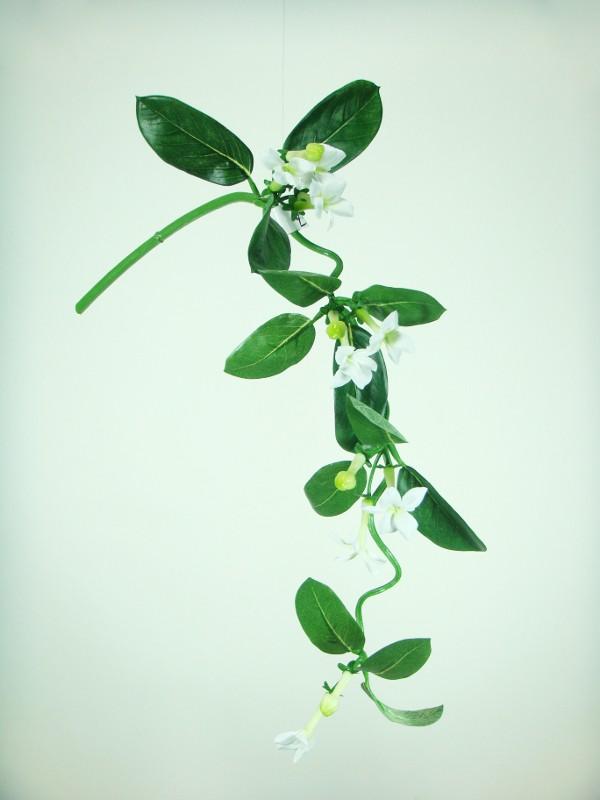 Flor artificial jazmín colgante blanco plástico y tela tratada
