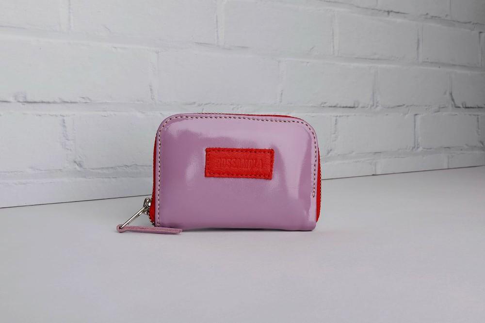 Billetera petit lila cierre rojo 12cm alto x 8cm ancho x 1,5cm fuelle