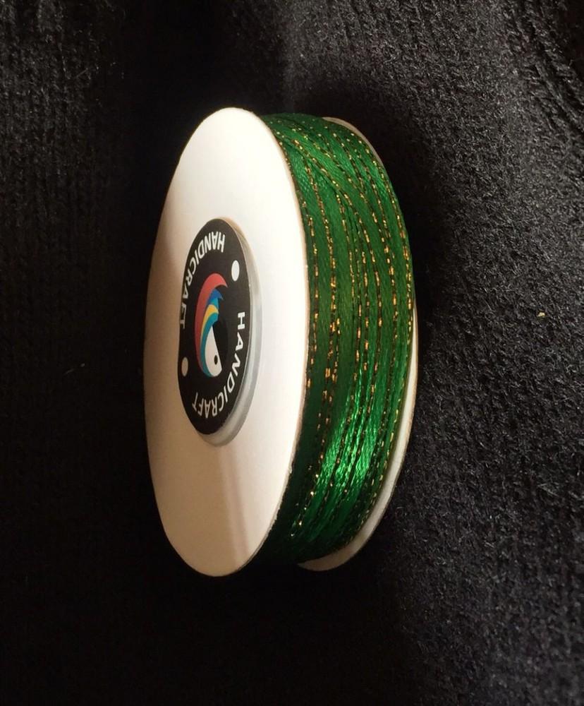 Cinta satín 3 mm Verde con bordes dorado