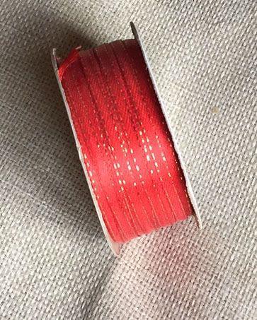 Cinta satín 3 mm Rojo con borde dorado