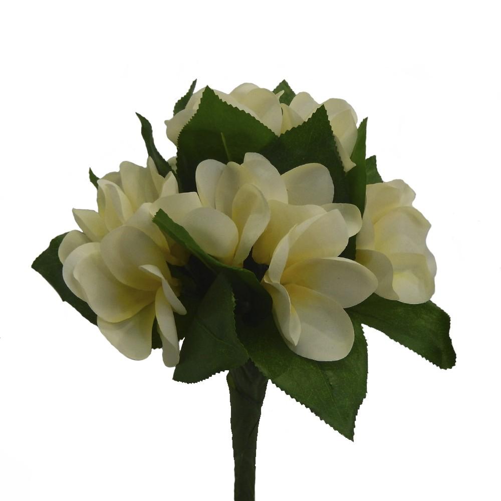 Ramo frangipani 71cm blanco/amarillo