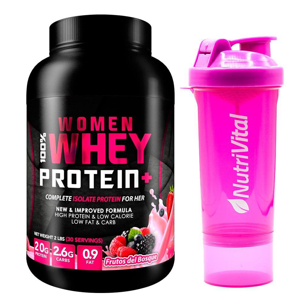 Proteina sabor frutos del bosque + shaker rosado nutrivital