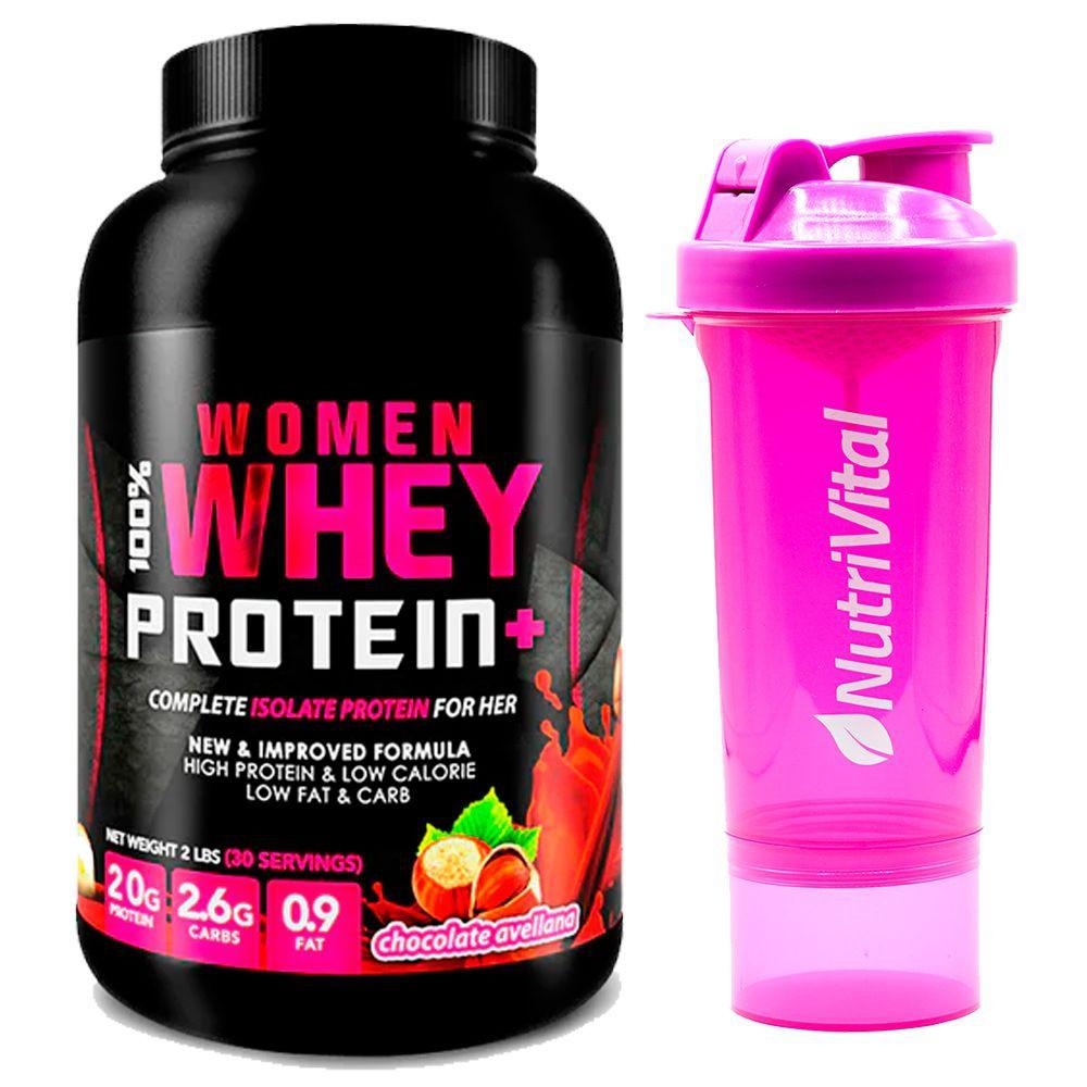 Proteina sabor avellanas + shaker rosado nutrivital