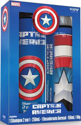 Kit shampoo 2 em 1 e desodorante aerosol Capitão América