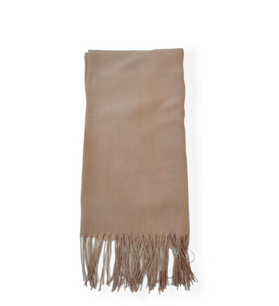 Bufanda beige lana casimir larga 180x100