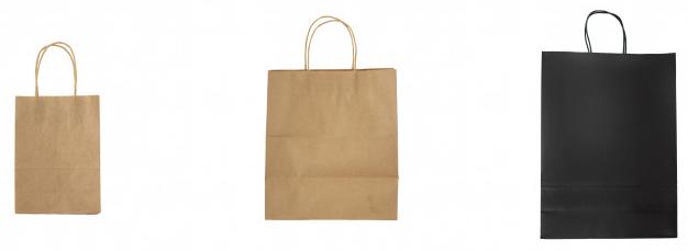 Bolsas en papel kraft café 20 cm x 14 cm x 8 cm bolsa