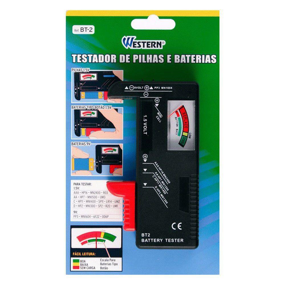 Testador de pilhas e baterias 1,5 a 9v